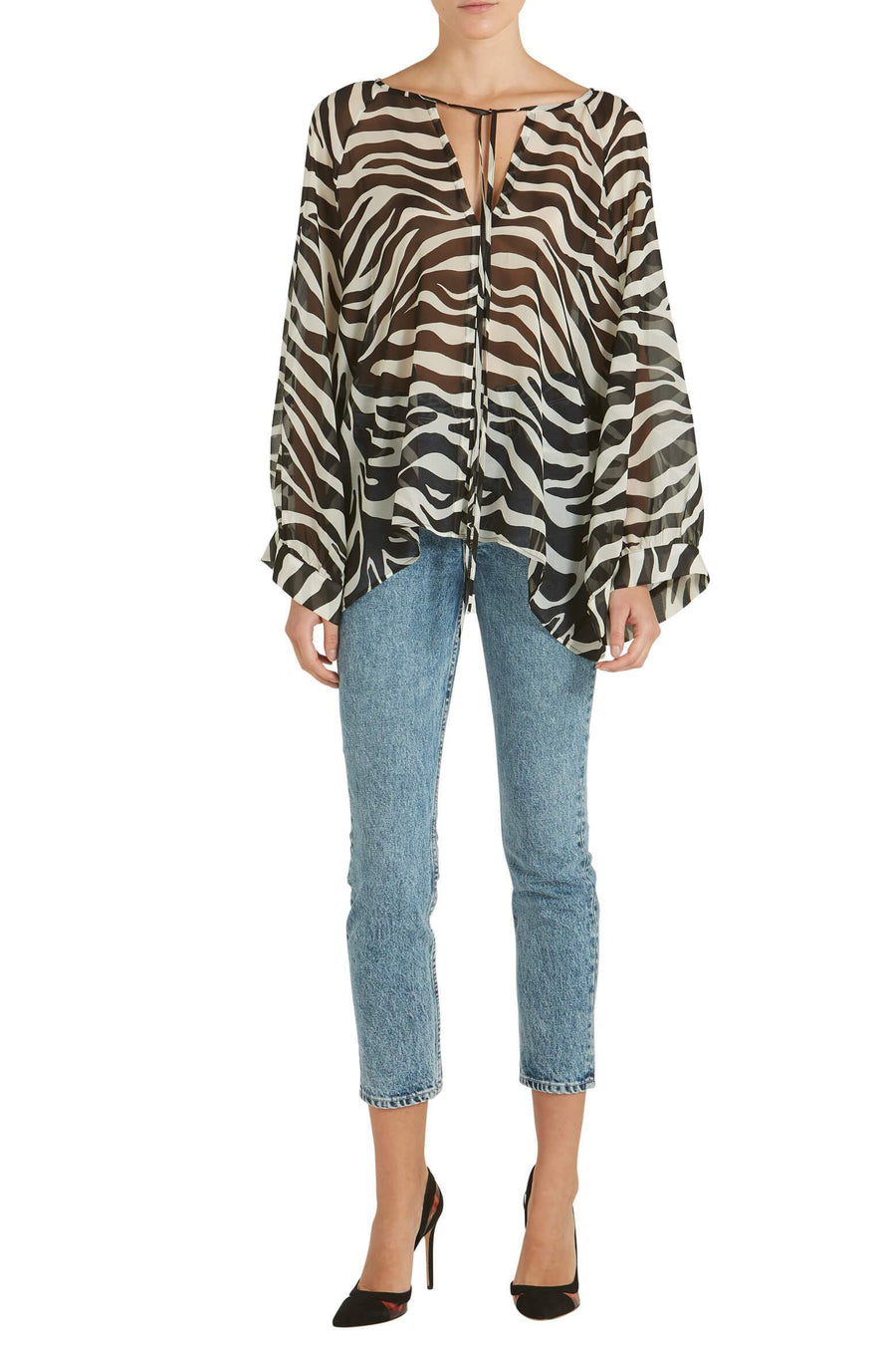 Nili Lotan Acadia Blouse in Ivory Tiger Print from The New Trend