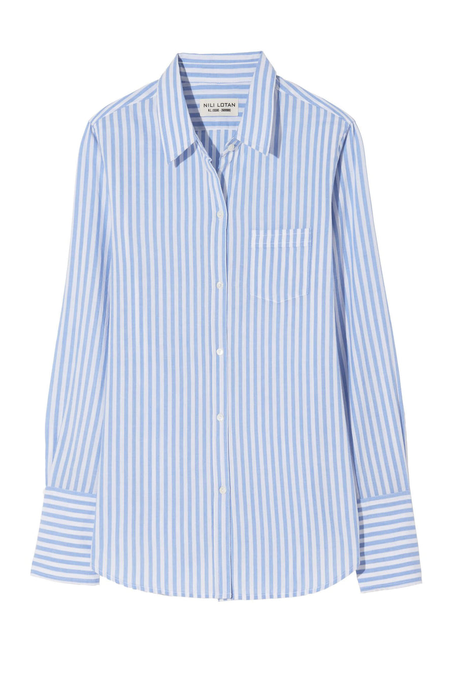 Nili Lotan NL Shirt in Ocean Stripe from The New Trend