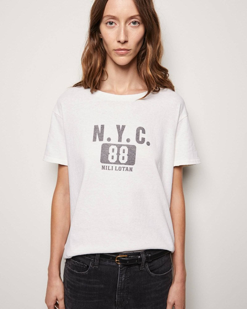 Nili Lotan New York 88 Printed Brady Tee in Ecru from The New Trend
