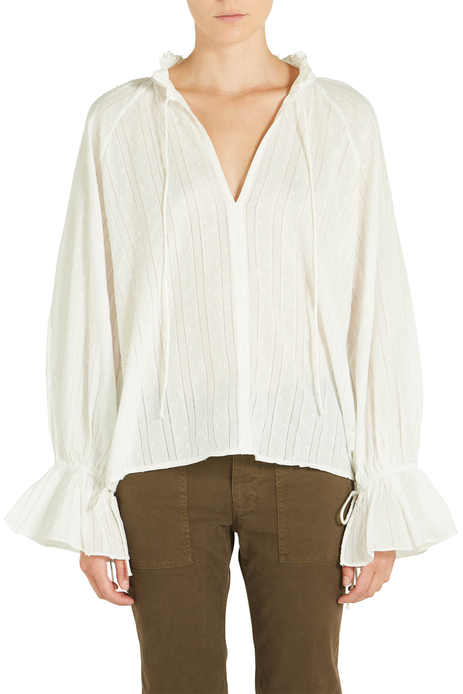 Nili Lotan Thelina Top in Ivory from The New Trend