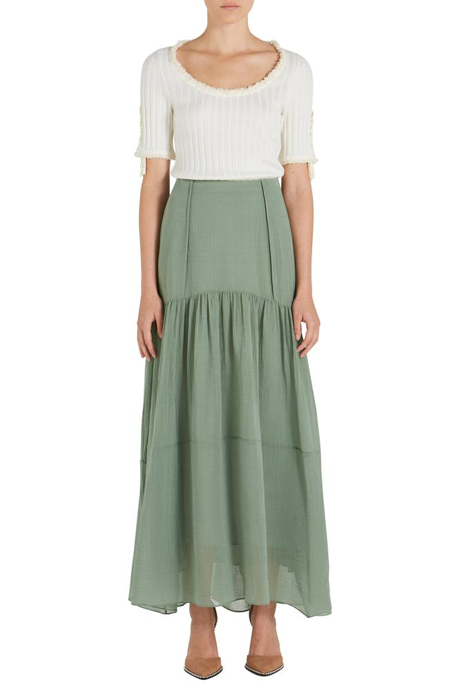 TEXTURED SILK MAXI SKIRT
