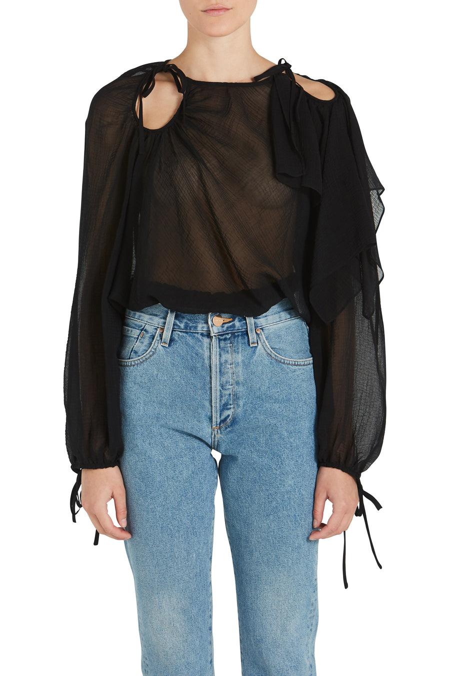 LS TEXTURED SILK BLOUSE