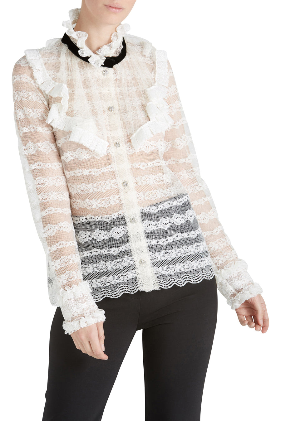 BLOUSE W NECK FRILL