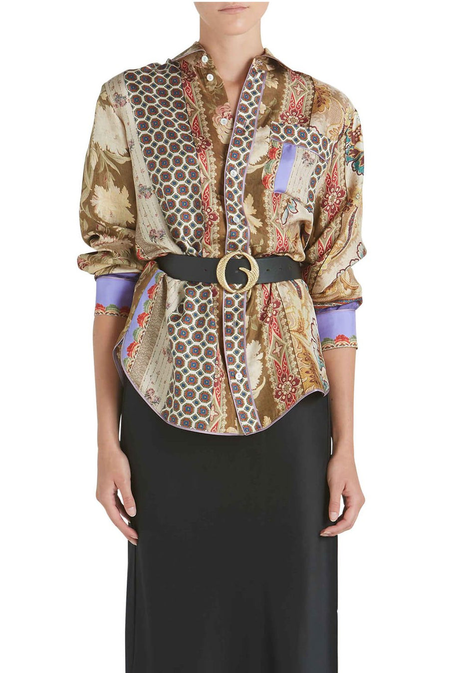 Pierre-Louis Mascia Silk Long Sleeve Shirt in Gold Spliced from The New Trend.