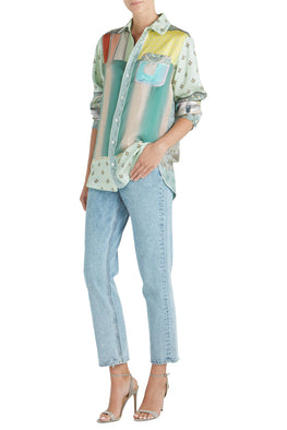 Pierre-Louis Mascia Long Sleeve Collared Silk Shirt in Mint Spliced from The New Trend Australia