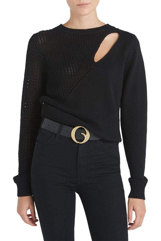 RtA Teagan Knit Slit Sweater in Black from The New Trend