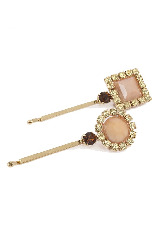 Rosantica Fiction Hair Clip Set in Gold and Nude from The New Trend