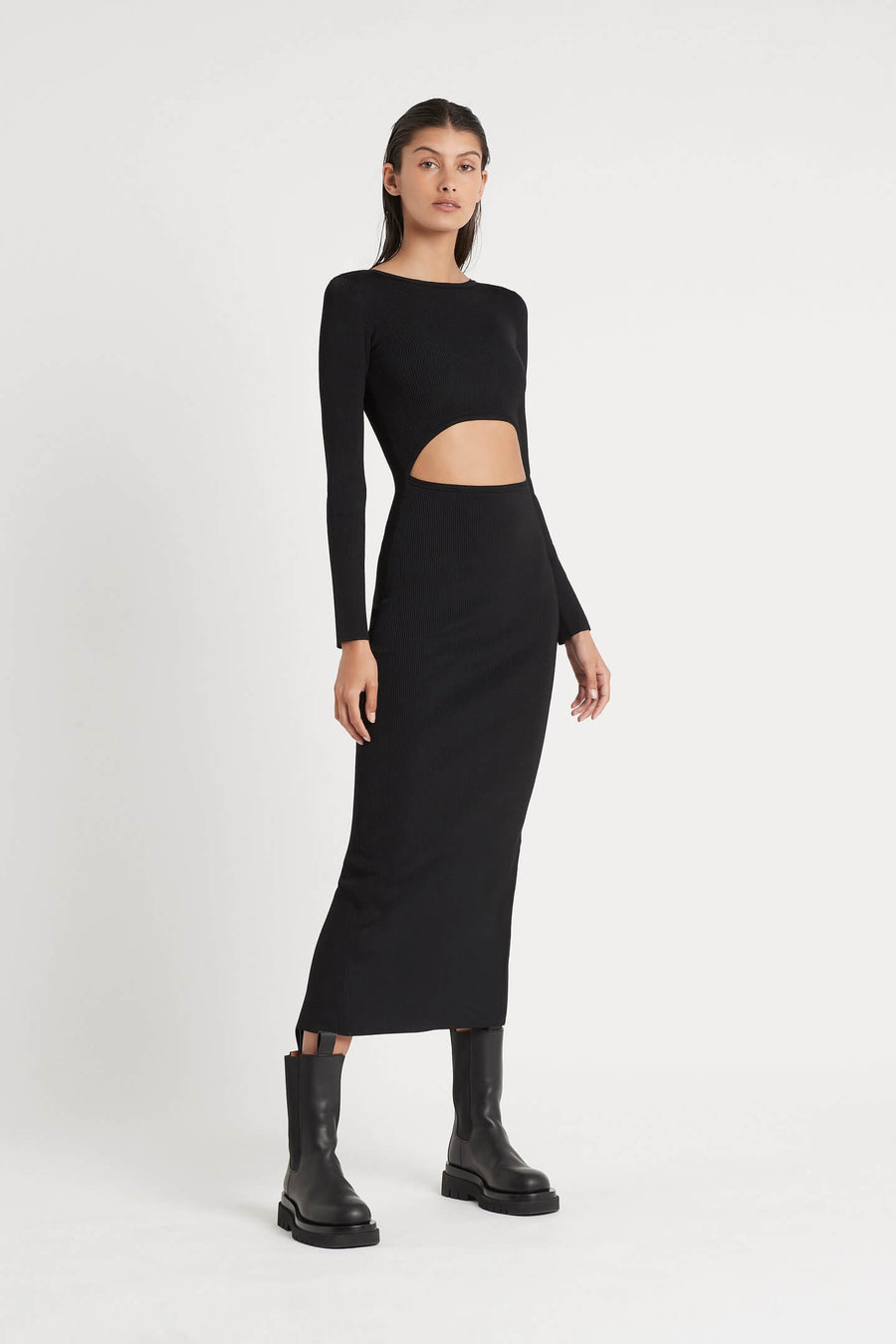 SIR Celle Reversible Long Sleeve Knit Midi Dress | The New Trend