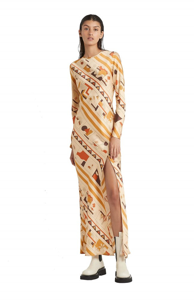 SIR Soleil Long Sleeve Silk Printed Women's Maxi Dress | The New Trend