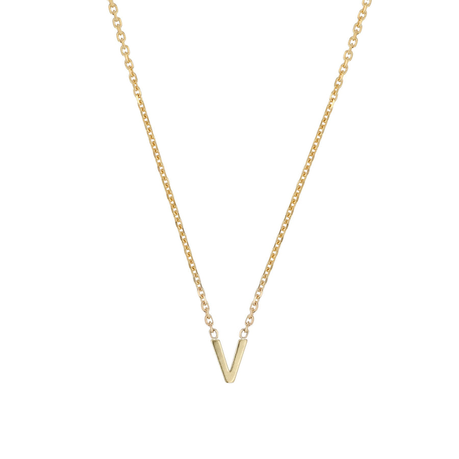 Sarah-Sebastian-Petite-Letter-V-Necklace-Yellow-Gold-The-New-Trend