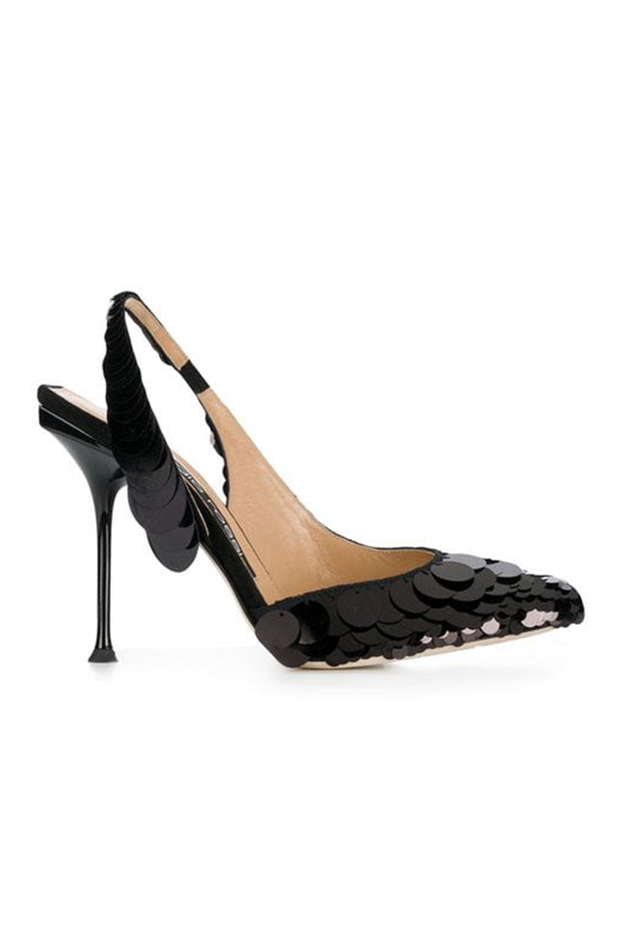 SR MILANO BLACK SEQUIN SLING BACK