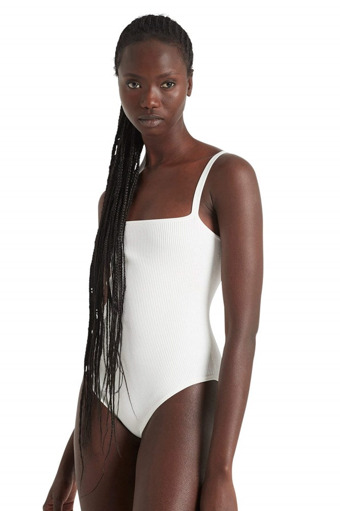 Sir Agnes Ribbed Bodysuit in White from The New Trend
