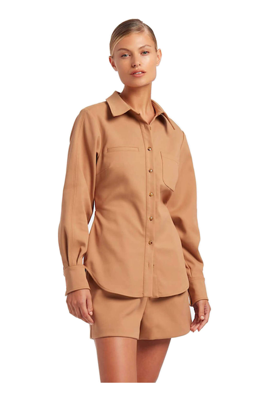 Sir The Label Andre Open Back Shirt in Camel from The New Trend