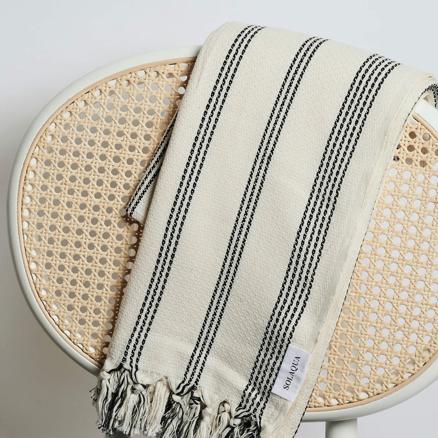Solaqua Amalfi Turkish Cotton Towel in Black and Beige stocked at The New Trend
