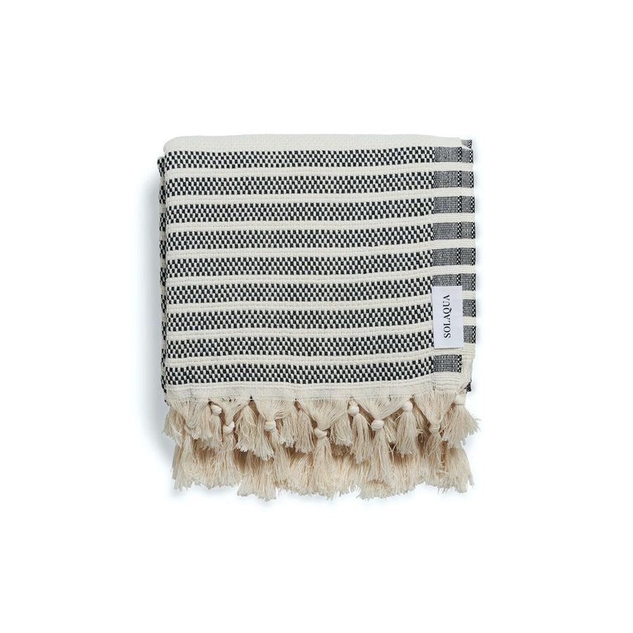 Solaqua Marina Turkish Cotton Towel in Black and Beige stocked at The New Trend