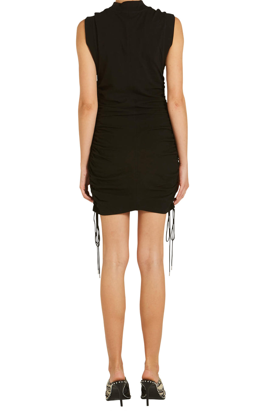 T By Alexander Wang High Twist Jersey Ruched Dress With Ties