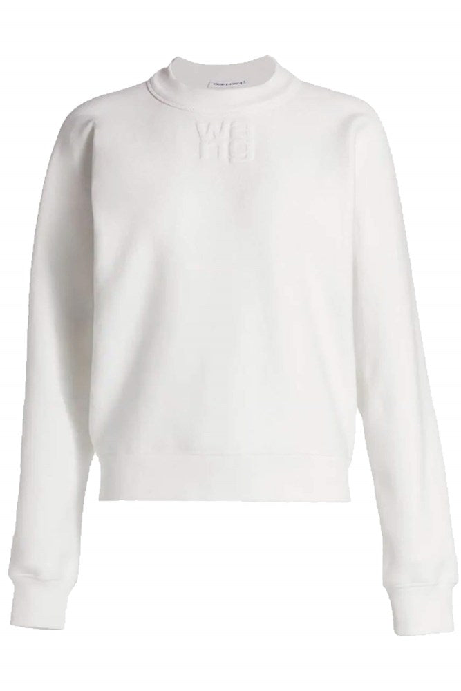 T by Alexander Wang Foundation Terry Crewneck Sweatshirt w. Puff Paint in White from The New Trend