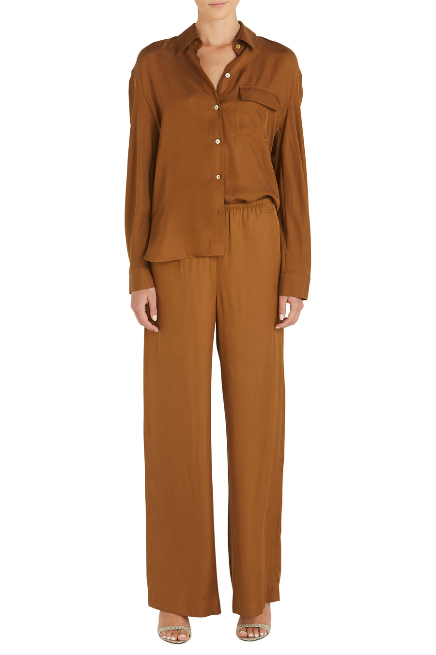 VINCE Easy Utility Button Down in Palo Santo from The New Trend