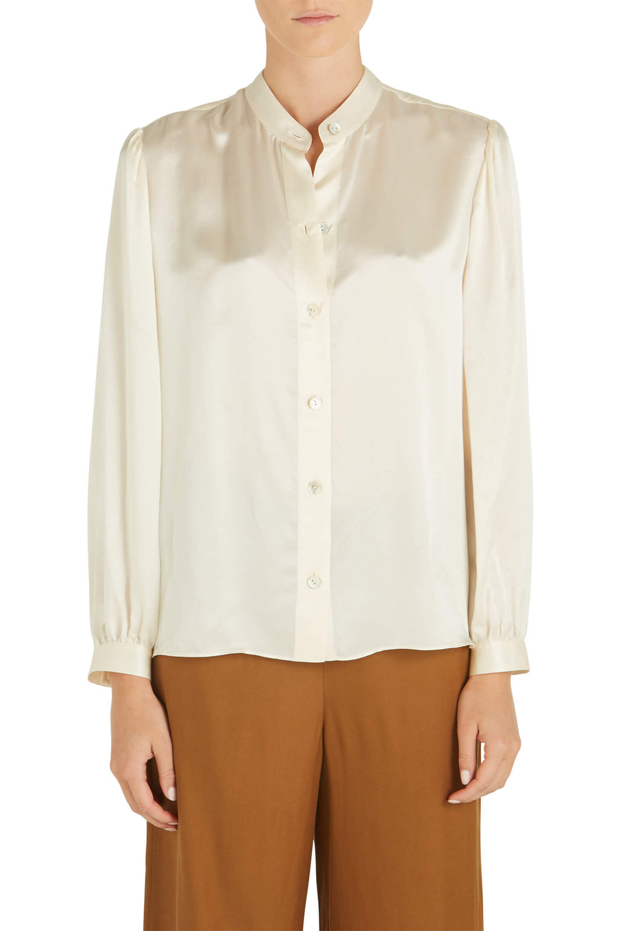 VINCE Shirred Band Collar Blouse in Chiffon from The New Trend
