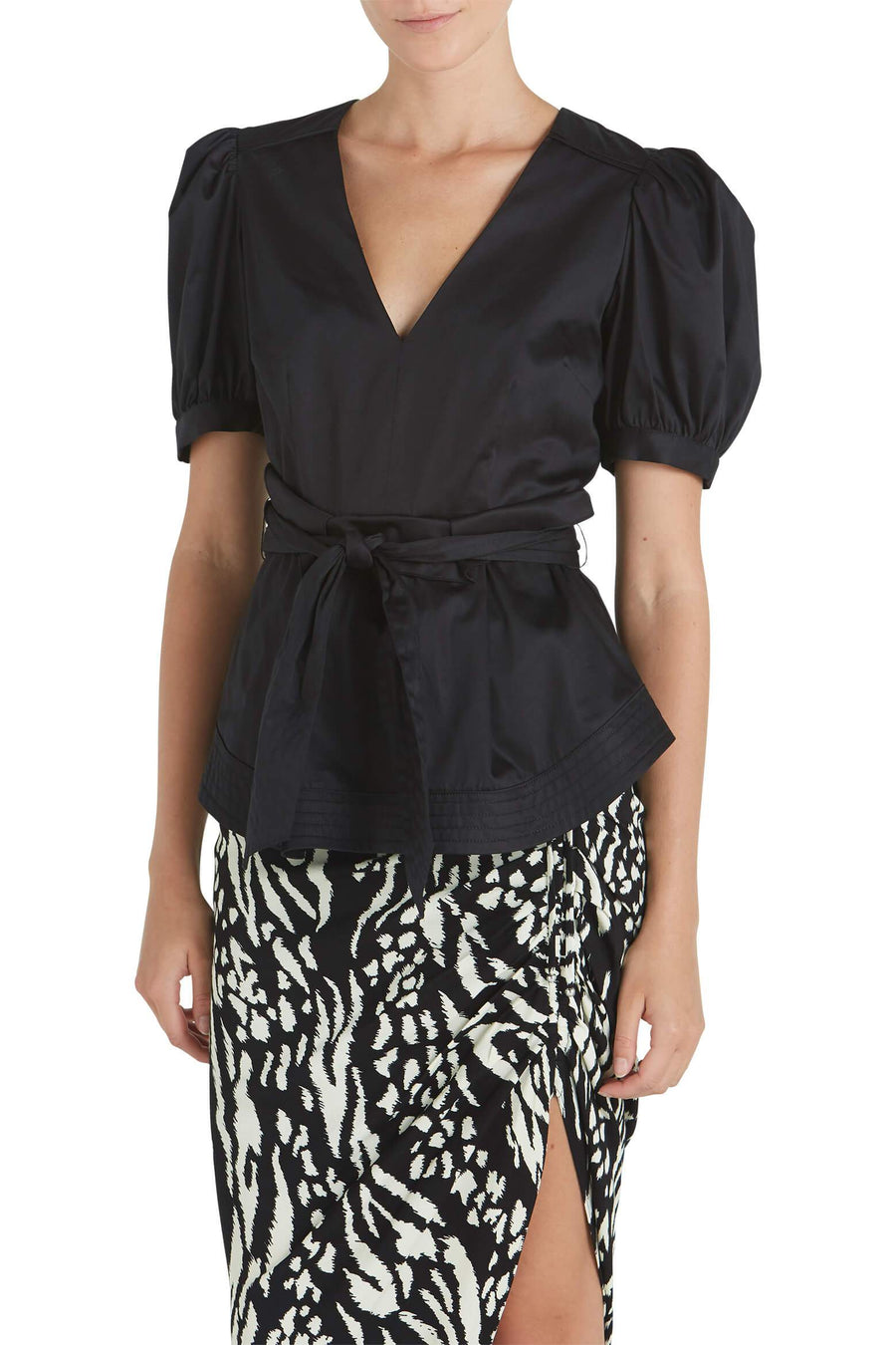 Veronica Beard Aslan Peplum Top in Black from The New Trend
