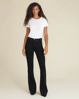 Veronica Beard Beverly High Rise Skinny Flare Jean in Onyx from The New Trend