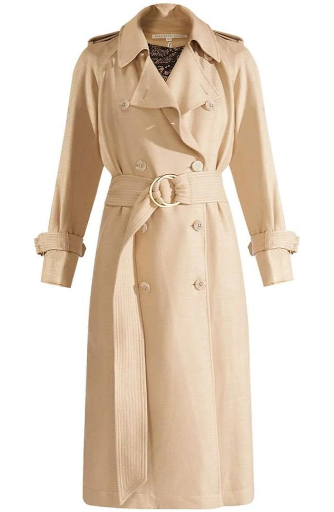Veronica Beard Eloisa Dickey Trench Coat in Beige from The New Trend