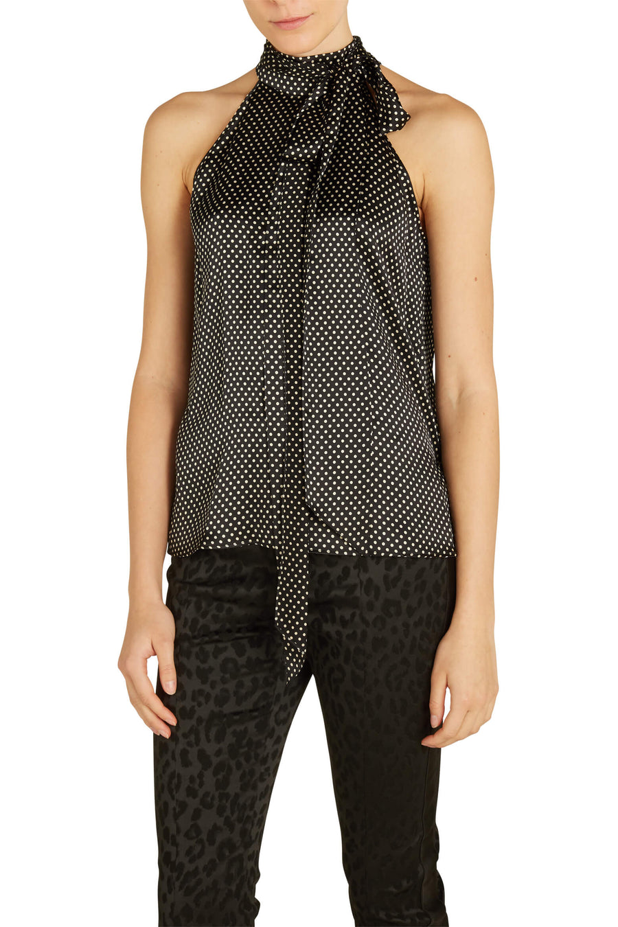 Ceyda Halter Top in Black and Ivory Dots from The New Trend