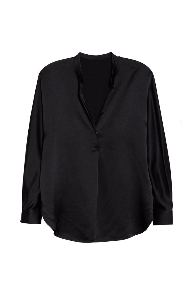 Vince Band Collar Blouse in Black from The New Trend