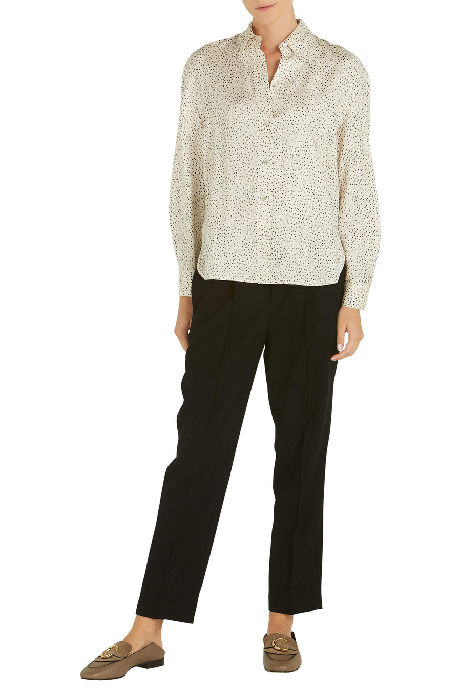 VINCE Ditsy Dot LS Blouse in Chiffon from The New Trend