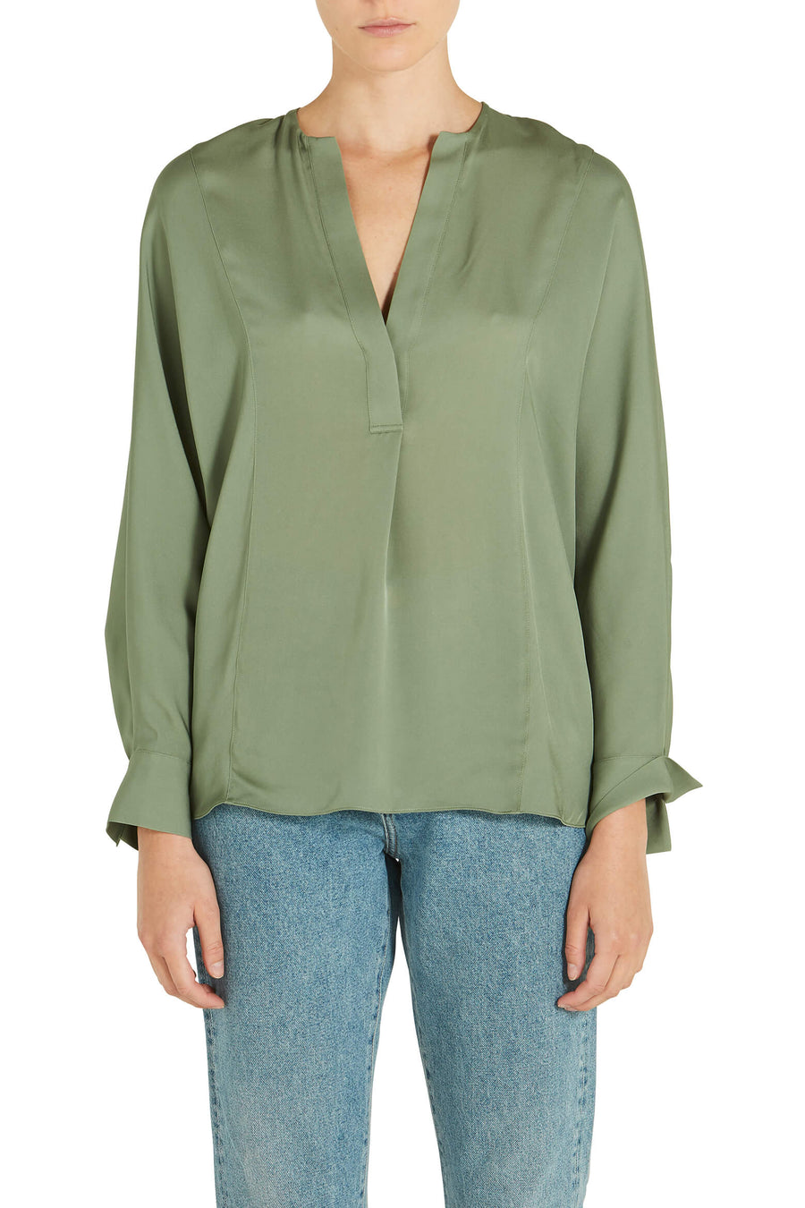 Vince Half Placket Blouse in Sage Flint from The New Trend