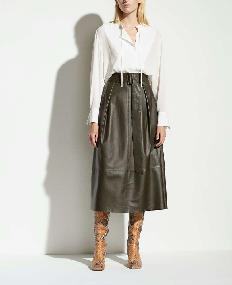 Vine Leather Belted Skirt in Antique Olive from The New Trend