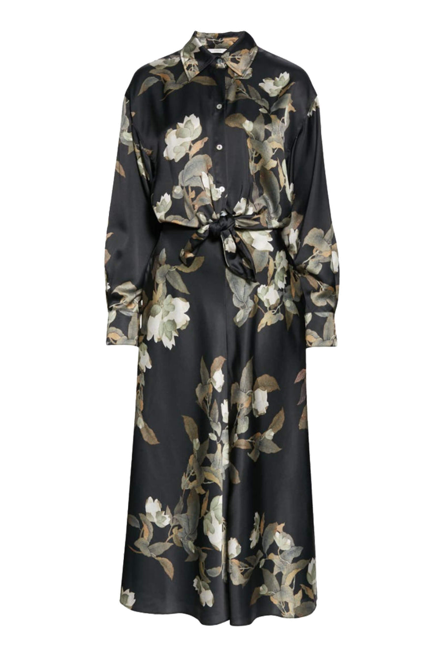Vince Lisianthus Tie Front Shirt Dress in Black from The New Trend