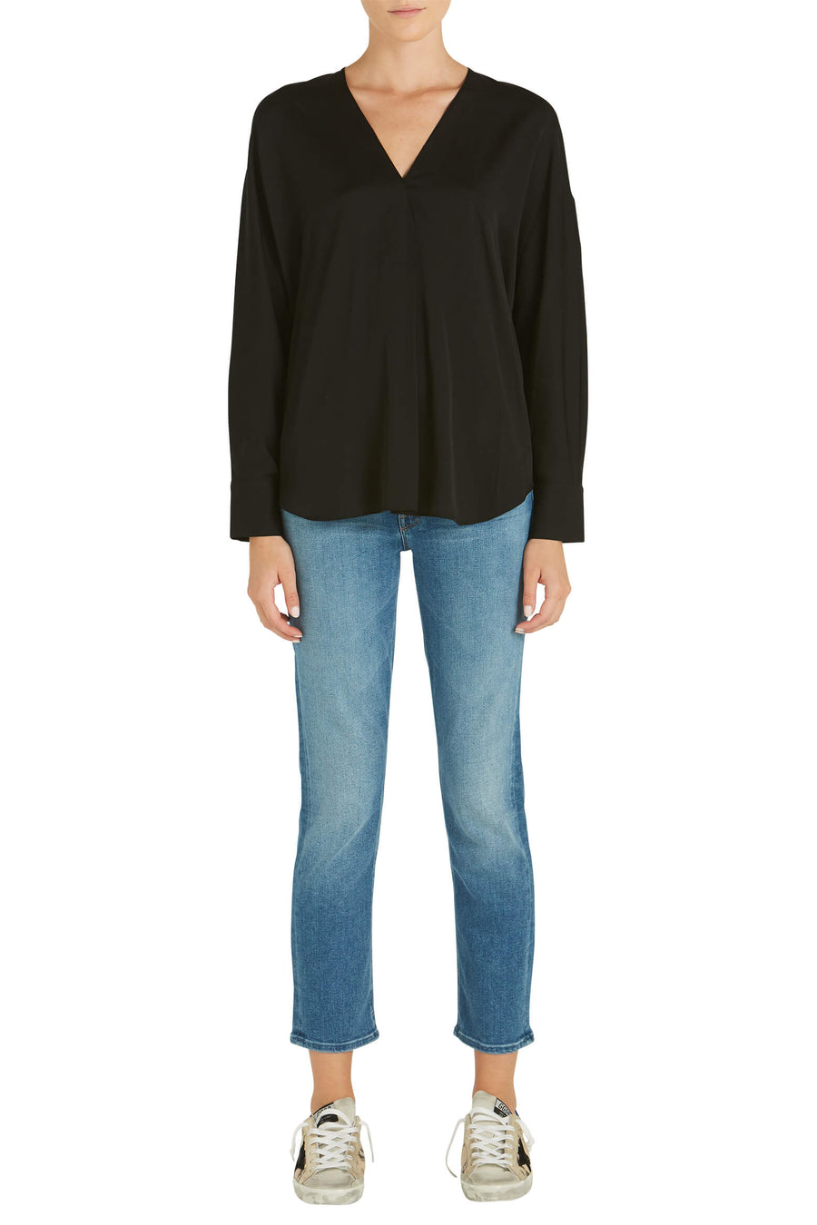 VINCE L/S V-Neck Popover in Black from The New Trend