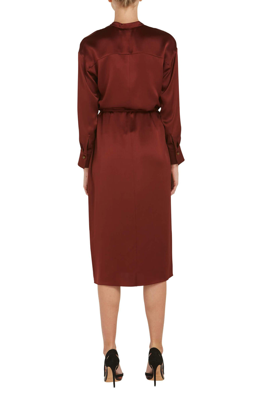 VINCE. L/S Wrap Dress in Dark Rosewood from The New Trend