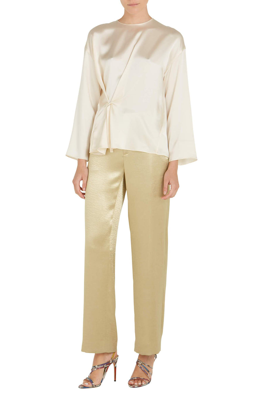 VINCE. Knot Front Blouse in Chiffon from The New Trend