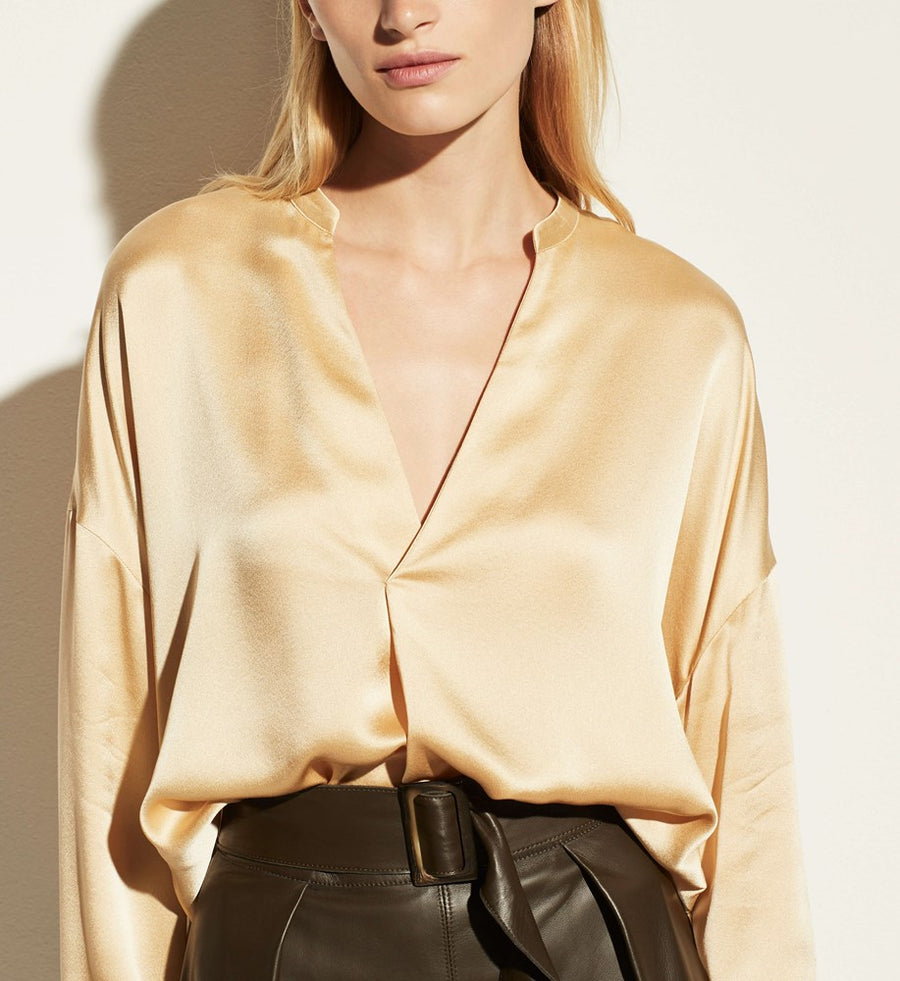 Vince Pleat Front Blouse in Light Brass from The New Trend