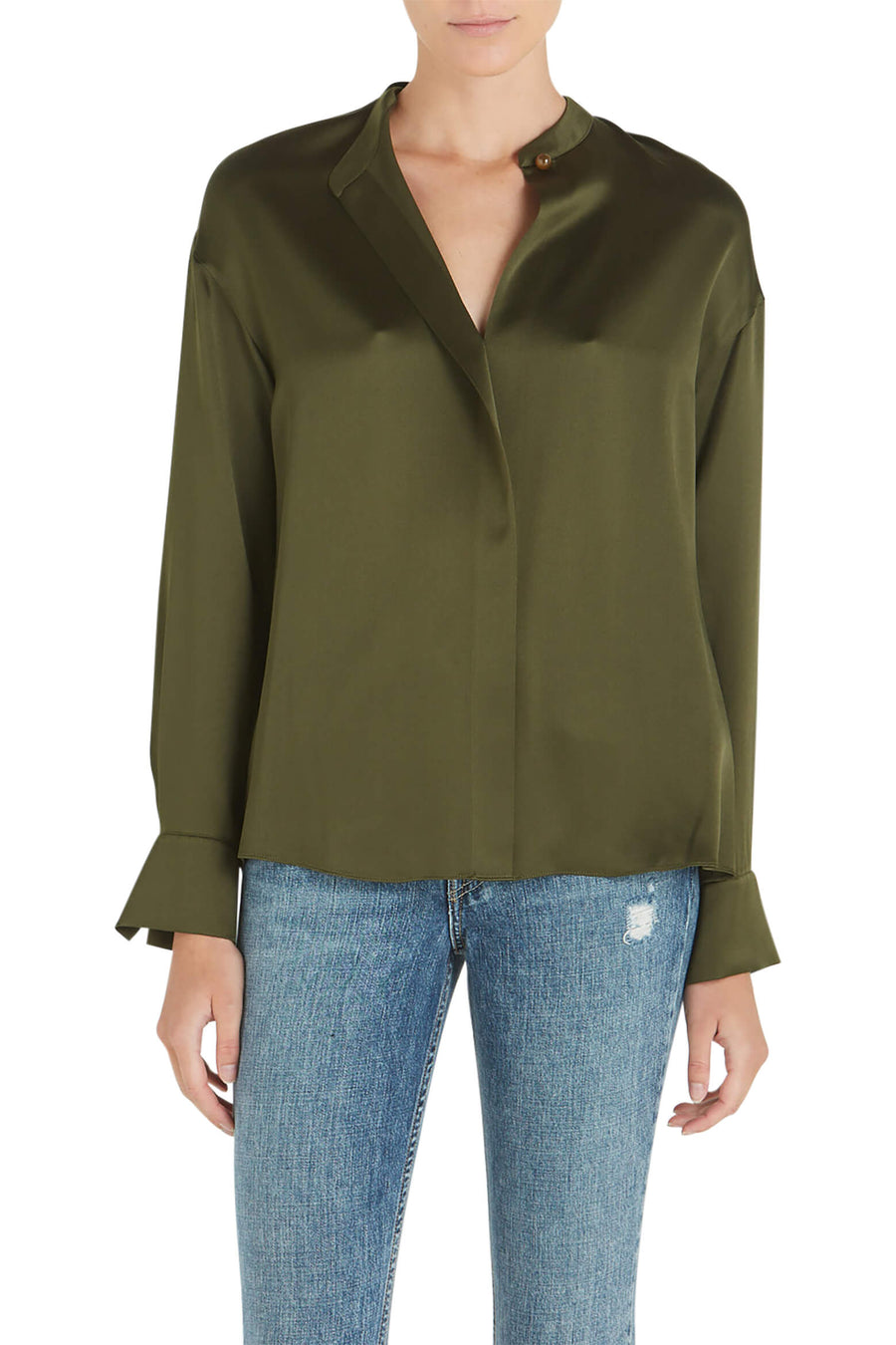Vince Satin Long Sleeve Blouse Mineral Pine from The New Trend