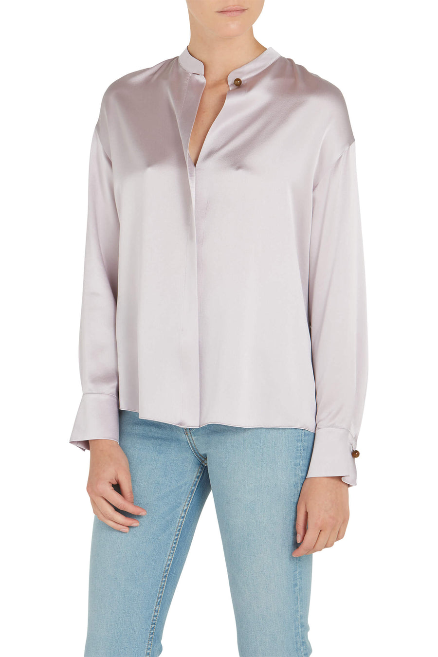 VINCE. Satin Long Sleeve Blouse in Orchid Haze from The New Trend