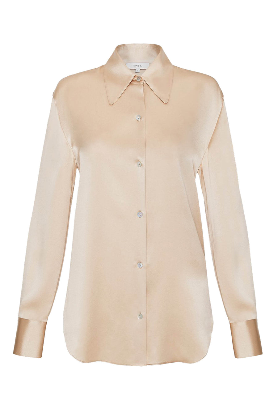 VINCE. Shaped Collar Blouse Sand Dollar in Sand Dollar from The New Trend