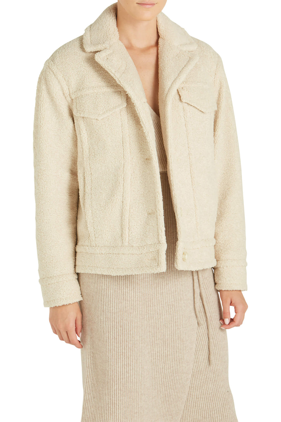 Vince Sherpa Jacket in pearl from The New Trend