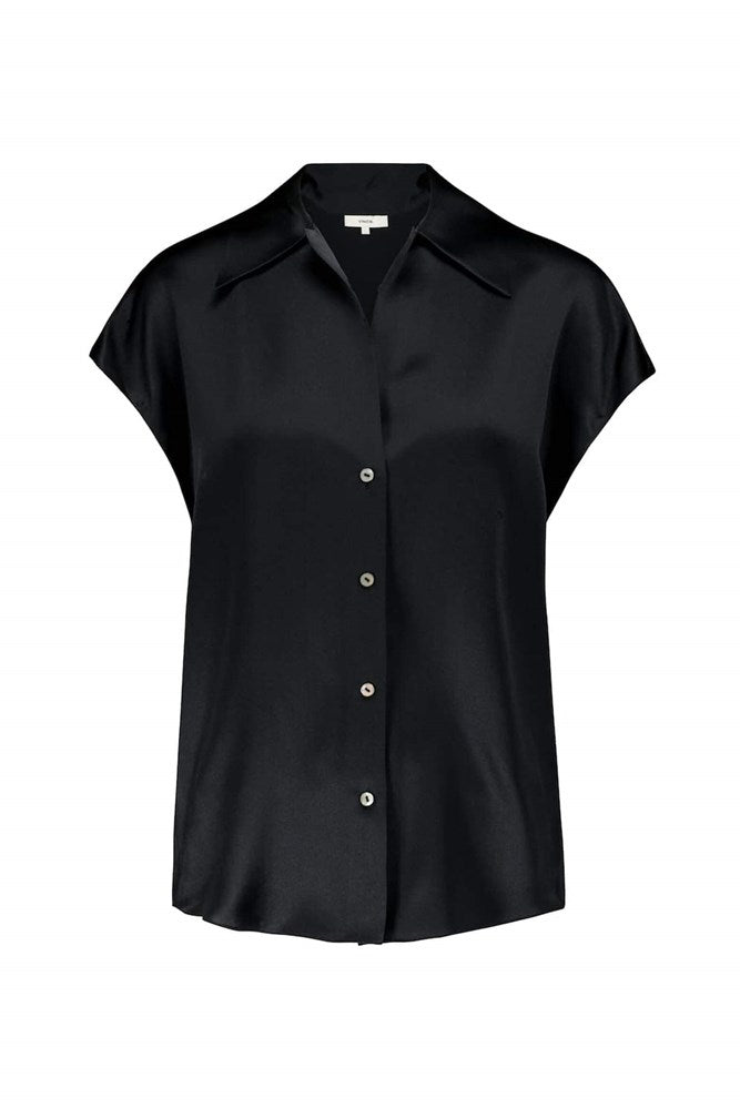 Vince Short Sleeve Shaped Collared Blouse in Black from The New Trend