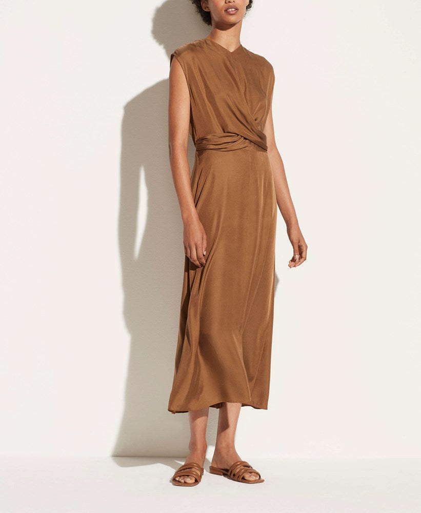 VINCE Sleeveless Twist Front Dress in Bronze from The New Trend
