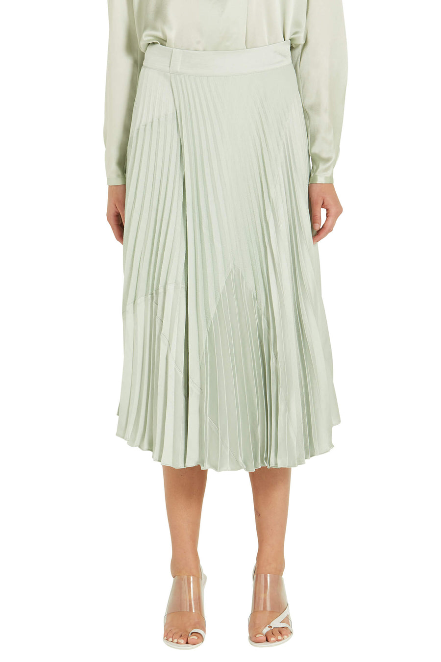 Vince Mixed Media Pleated Skirt in Aloe from The New Trend