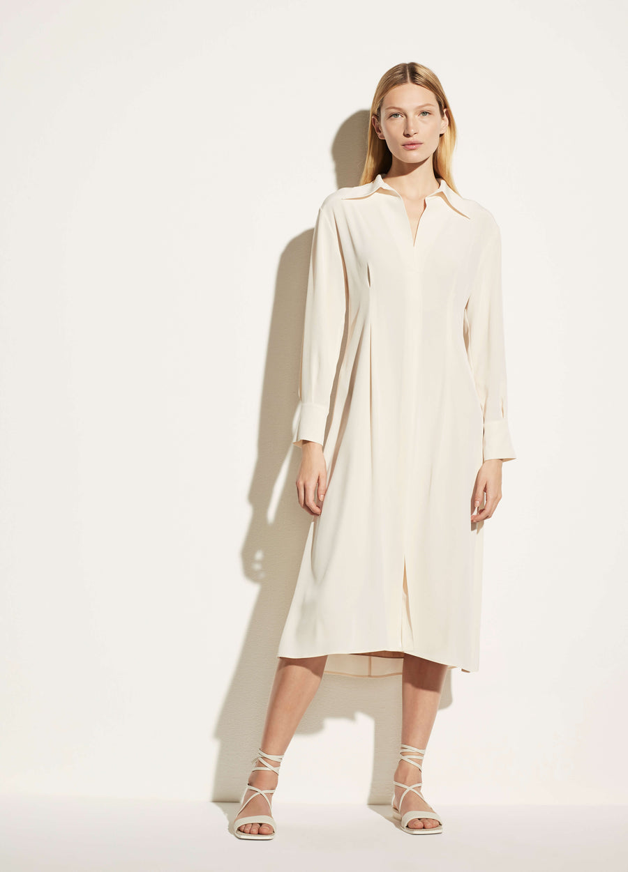 Vince-Womens-Long-Sleeve-Draped-Maxi-Dress-With-Collar-Chiffon-The-New-Trend