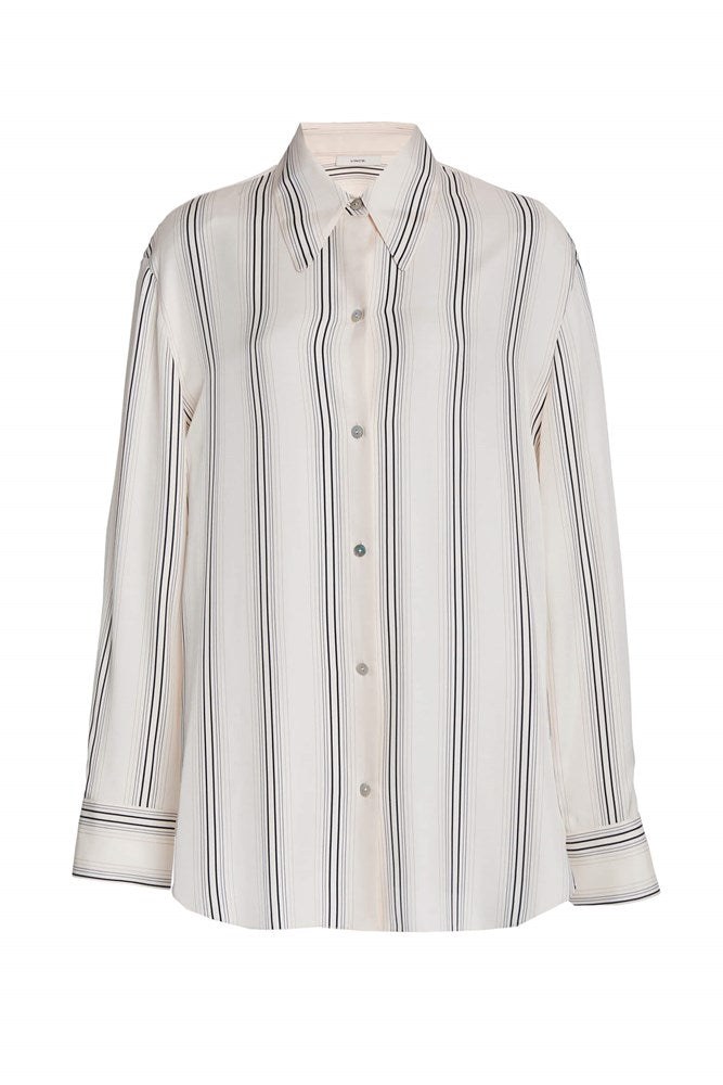 Vince - Womens Striped Long Sleeve Shirt Chiffon | The New Trend