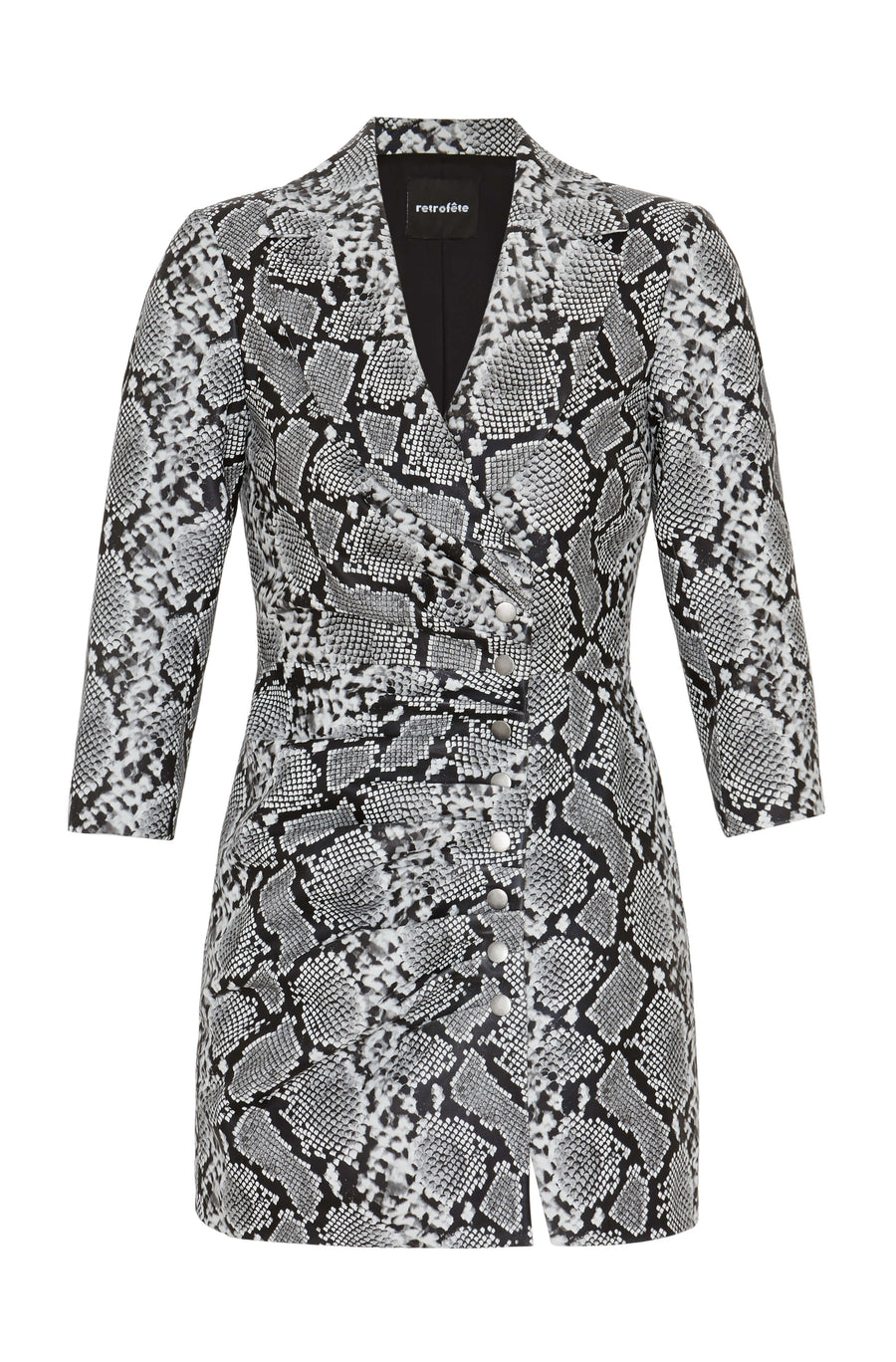Retrofête Willa Dress in Silver Snakeskin from The New Trend