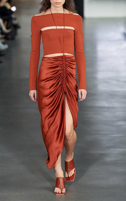 Dion Lee Gather Tie Skirt in Brick from The New Trend