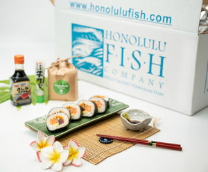 Hawaiian Ultra Ahi And King Salmon With Maki Roll Sushi Set