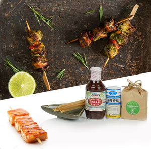 Hawaiian BAR-B-Q Fish Kit With Hawaii Sugarcane Skewers, Nori Furikake And Hokkaido Rice