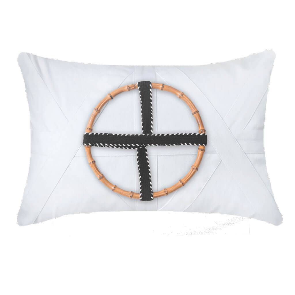 Bamboo Ring Black on White Designer Cushion